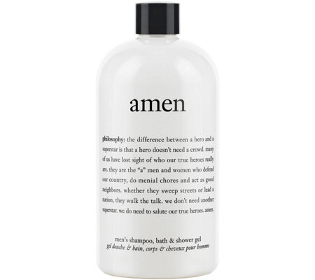 philosophy 3-in-1 amen men's shampoo, bath & shower gel, 16 oz
