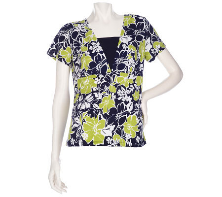 Susan Graver Liquid Knit Floral Printed Top with Insert