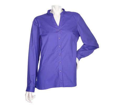 Denim & Co. Solid Stretch Woven Shirt w/ Stud Detail