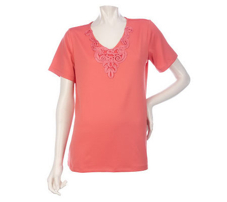 Susan Graver Butterknit Short Sleeve Top with Soutache Detail