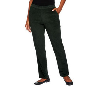 Denim & Co. Regular Classic Waist Slim Leg Corduroy Pants - A218213