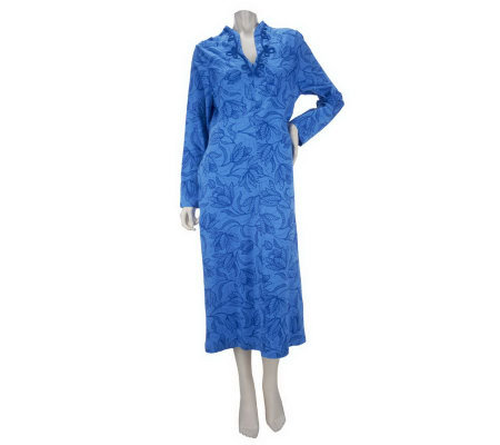 Carole Hochman Tulip Lines Cotton Jersey Zip Up Caftan