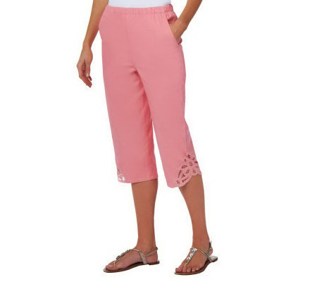 "Denim & Co. ""How Timeless"" Stretch Twill Capri Pants w/ Battenburg Lace"