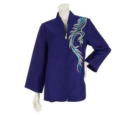Bob Mackie's Embroidered Dragon Motif Zip Front Shirt