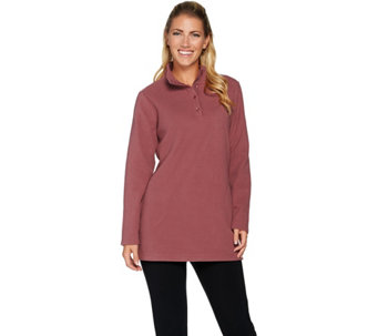 Denim & Co. Pullover Button Placket Fleece Tunic w/Pockets - A229013