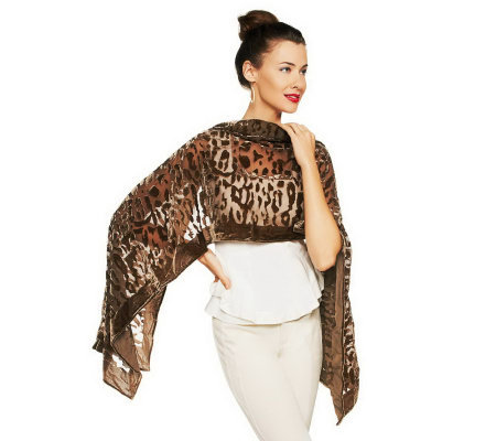 Joan Rivers Chiffon Velvet Animal Print Scarf