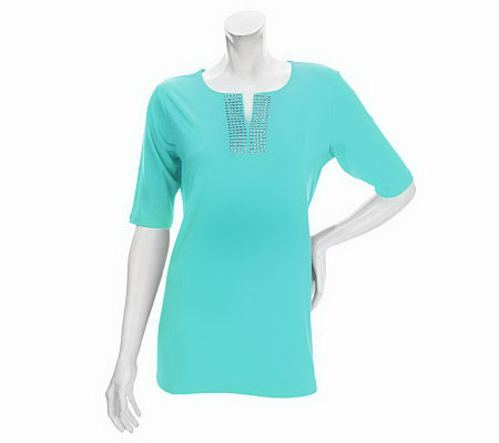 Susan Graver Liquid Knit Split Neck Top with Metallic Stud Detail