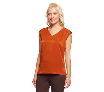 Linea by Louis Dell'Olio Sleeveless V-Neck Top w/ Side Slits - A235313