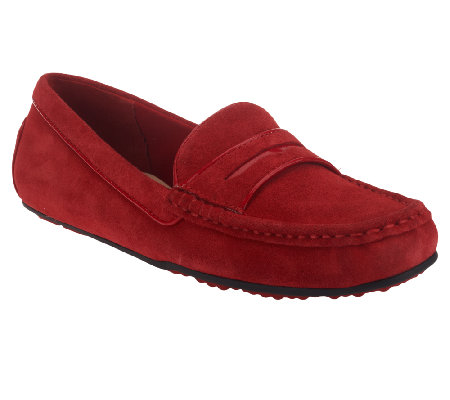 Isaac Mizrahi Live! Suede Patent Trimmed Penny Loafers
