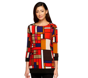 George Simonton Geometric Print Sweater Knit 3/4 Sleeve Top - A237013