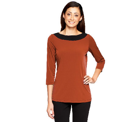 Susan Graver Liquid Knit Boatneck Color-Block 3/4 Sleeve Top