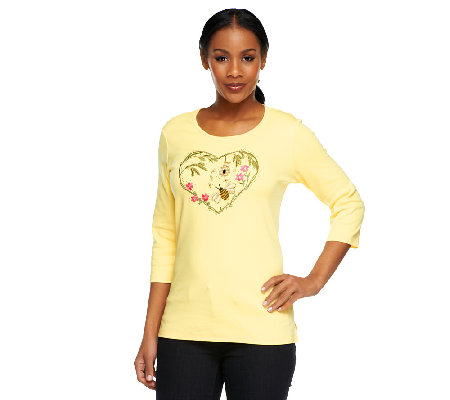 Quacker Factory Bee Still my Heart 3/4 Sleeve T-shirt