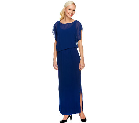 Lisa Rinna Collection Regular Jersey Maxi Dress w/ Sheer Overlay