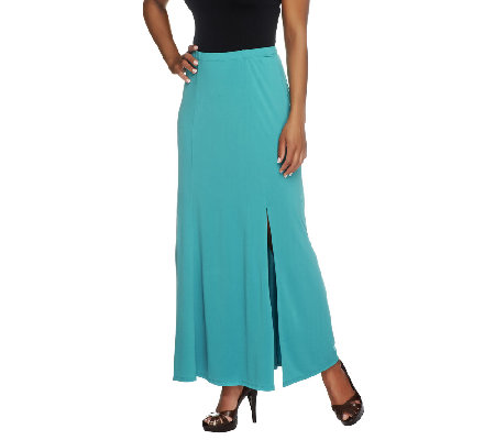 Susan Graver Petite Liquid Knit Gored Maxi Skirt with Slit