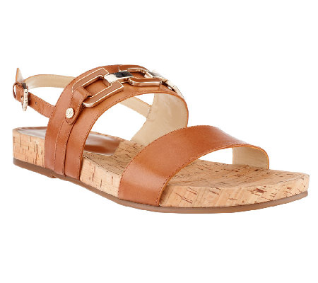 Isaac Mizrahi Live! Leather Strap Sandals with Enamel Hardware