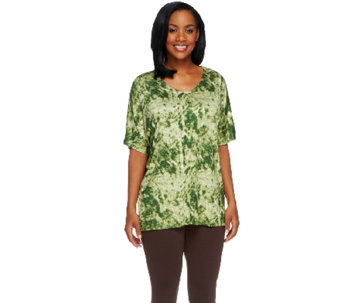 Lisa Rinna Collection V-Neck Abstract Print Knit Tunic - A253213