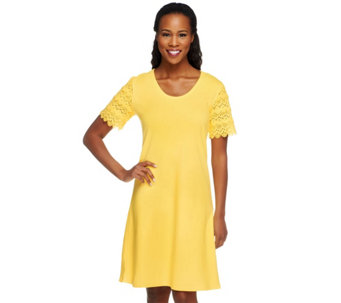 Liz Claiborne New York Petite Lace Sleeve T-Shirt Dress - A253413