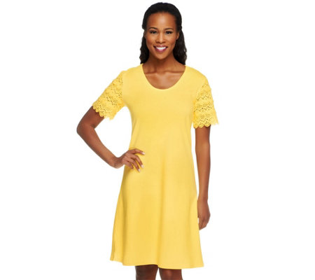 Liz Claiborne New York Petite Lace Sleeve T-Shirt Dress