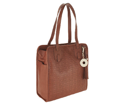 Isaac Mizrahi Live! Bridgehampton Perforated Leather Tote