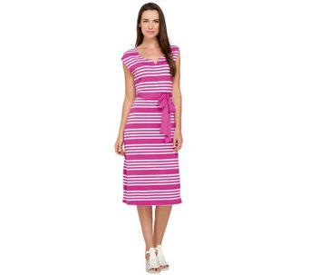 Liz Claiborne New York Petite Stripe Print Knit Dress - A254913