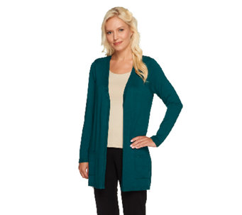 Susan Graver Sweater Knit Open Front Cardigan with Zipper Detail - A257113