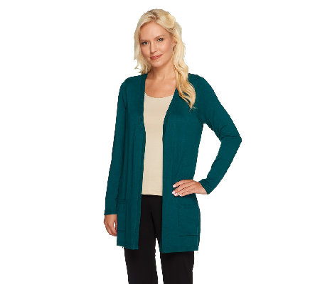 Susan Graver Sweater Knit Open Front Cardigan with Zipper Detail