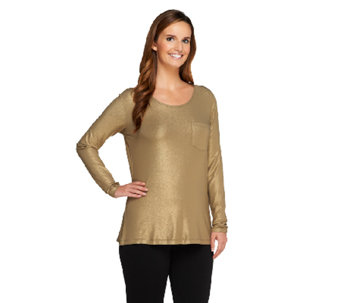 Lisa Rinna Collection Long Sleeve Knit Top with Front Pocket - A257713