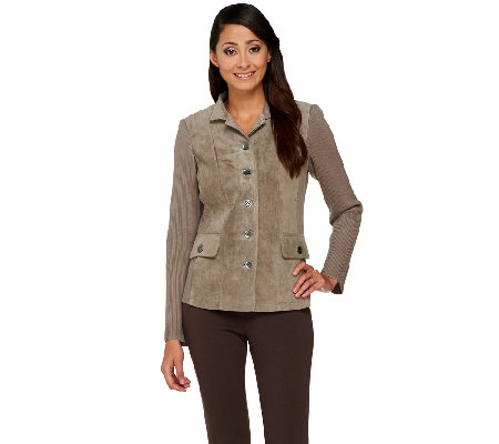 Linea by Louis Dell'Olio Suede Jacket with Knit Sleeves