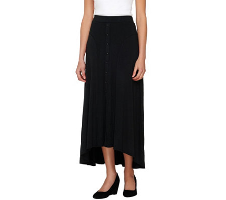 Lisa Rinna Collection Pull-On Button Front Knit Maxi Skirt