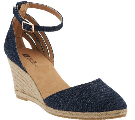 White Mountain Espadrille Wedges w/ Ankle Strap - Cicso