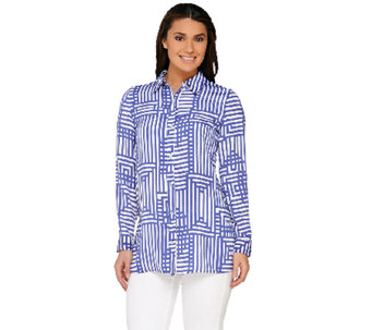 Susan Graver Printed Stretch Woven Button Front Shirt - A263813