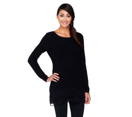 """As Is"" LOGO by Lori Goldstein Cotton Cashmere Sweater with Chiffon Trim"