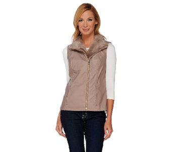Dennis Basso Faux Leather Moto Vest with Faux Fur Collar - A268813