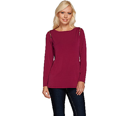 Susan Graver Liquid Knit Long Sleeve Top with Zipper Detail