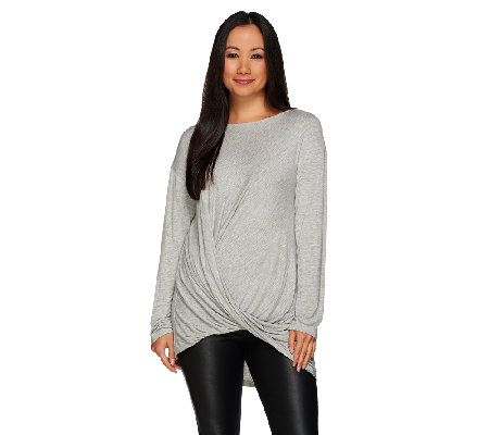 H by Halston Twisted Asymmetrical Drape Long Sleeve Knit Top