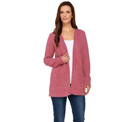 Susan Graver Cozy Knit Long Sleeve Open Front Cardigan