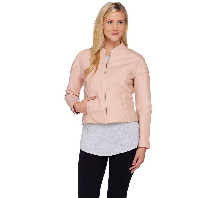 H by Halston Cropped Zip Front Leather Jacket