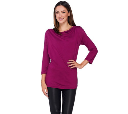H by Halston Draped Wrap Back Long Sleeve Knit Top