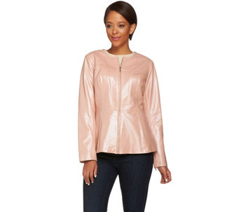 Isaac Mizrahi Live! Pearlized Peplum Lamb Leather Jacket - A272713