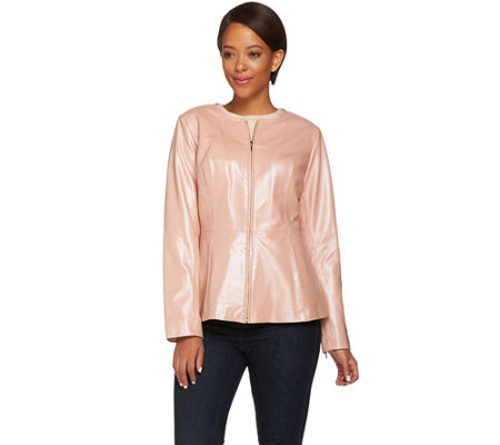 Isaac Mizrahi Live! Pearlized Peplum Lamb Leather Jacket