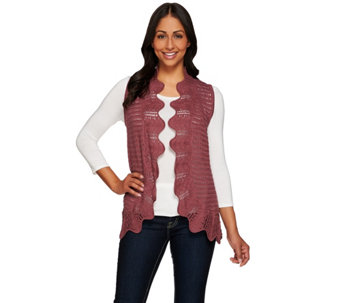 Liz Claiborne New York Knit Vest with Hand Crochet Trim - A272813