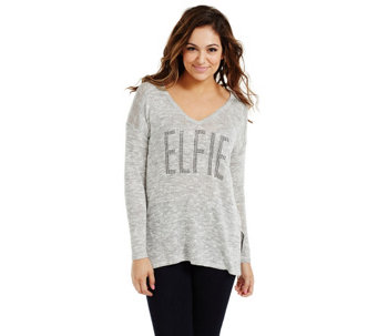 Bethany Mota Embellished Elfie Knit Top with Hi- Low Hem - A273813