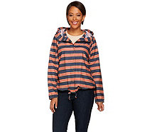 Isaac Mizrahi Live! TRUE DENIM Striped Anorak Jacket - A274613