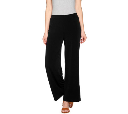 Susan Graver Liquid Knit Comfort Waist Wide Leg Pants - Regular