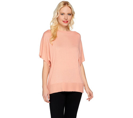 H by Halston Bateau Neck Short Sleeve Sweater with Crossover Back