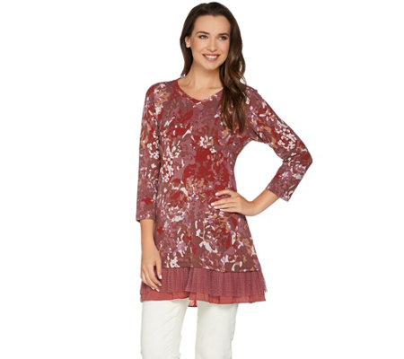 LOGO Lounge by Lori Goldstein French Terry Printed Top w/ Pleated Trim