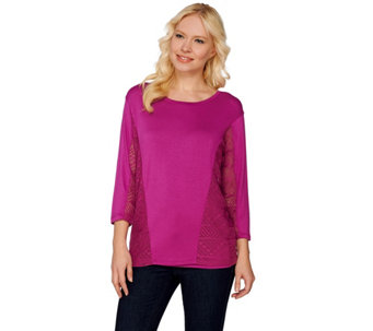 Lisa Rinna Collection Mesh Panel Knit Top with Camisole - A277013