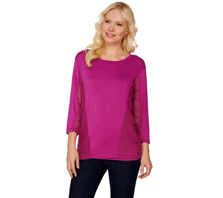 Lisa Rinna Collection Mesh Panel Knit Top with Camisole