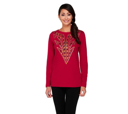 """As Is"" Bob Mackie's Studded Detail Pullover Top"