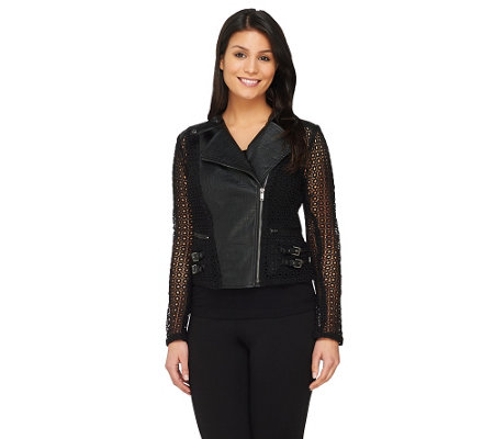 """As Is"" GK George Kotsiopoulos Faux Leather Moto Jacket"